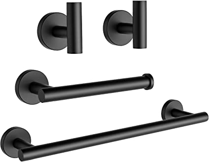 Amazon Com Ushower Matte Black Bathroom Hardware Set Include 16 Inch Towel Bar Durable Sus304 Stainless Steel Modern Style 4 Piece Kitchen Dining