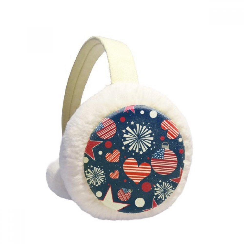 USA Flag Love Heart Star Festival Winter Earmuffs Ear Warmers Faux Fur Foldable Plush Outdoor Gift