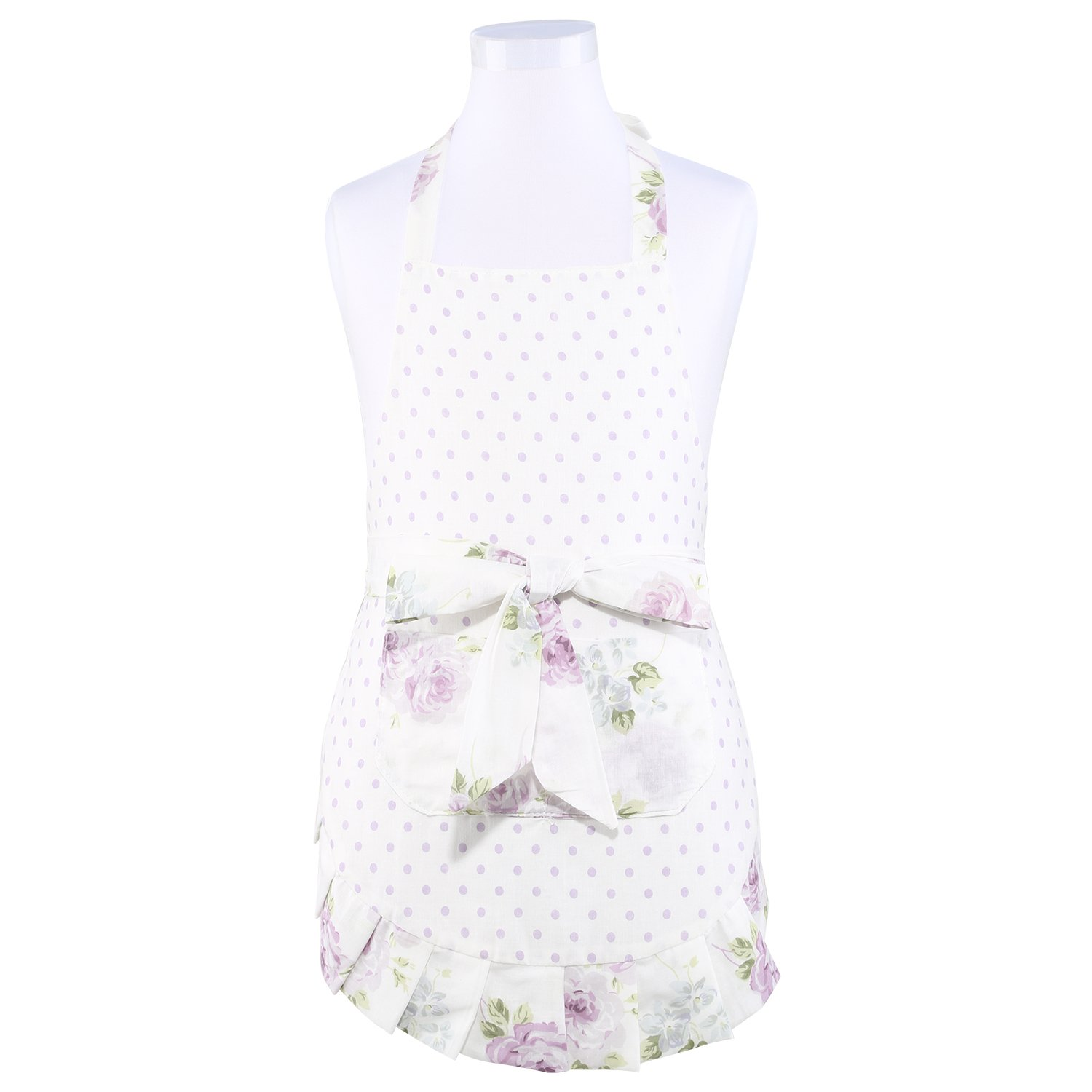 Neoviva Cotton Garden Child Apron with Big Pocket and Ruffles, Lining Applied, Style Little Kathy, Floral Lilac Snow Polka Dot
