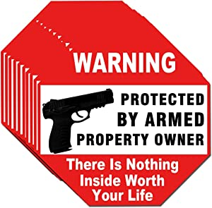 Warning Signs Gun There is Nothing Here Protected by Armed Property Owner Sign Static Cling Decal or Sticker on Window 6 x 6 Inch (Sticker)