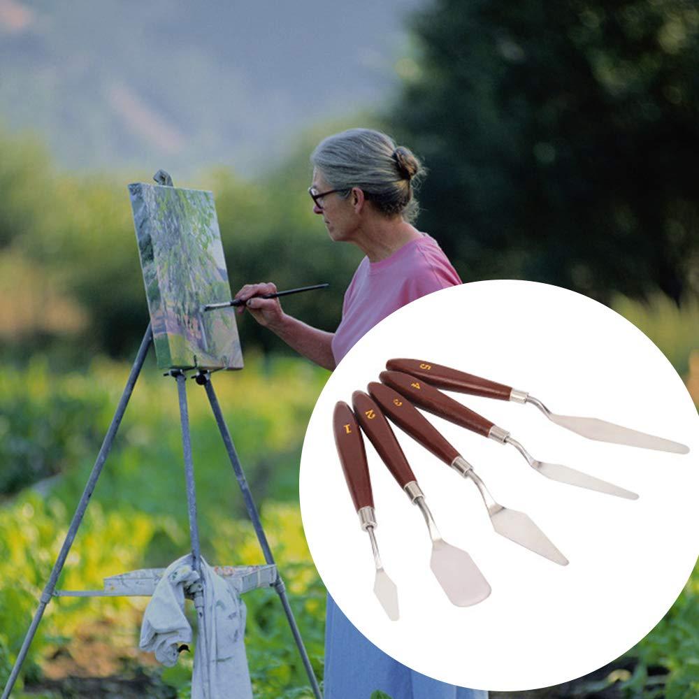 Raschietto per pittura a olio FairytaleMM 5 pezzi Set manico in legno Set di strumenti per pittura in acciaio inossidabile Palette Coltello Attrezzi per pittura