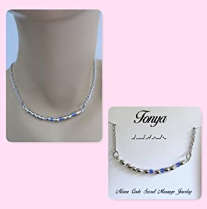 Your Name Personalized Morse Code Stainless Steel and Swarovski Crystal Birthstone Delicate Necklace Secret Message