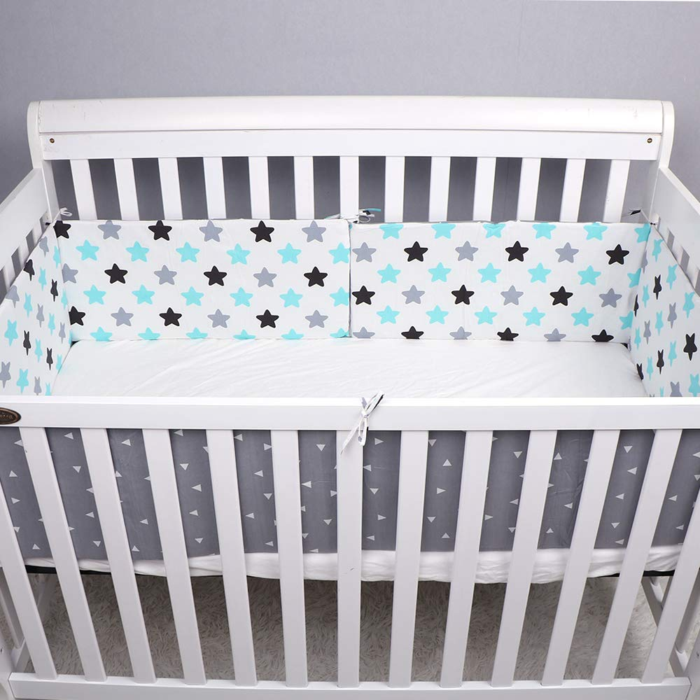 Crib Bumper Breathable Crib Bumper Nursery Pads for Standard Cribs Machine Washable Padded Crib Liner Set for Baby Safe Bumper Guards Protector Thick Rail Padding-100% Microfiber Polyester 3pcs/Set by DIYIN