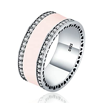 dba91f4ea Everbling Hearts of PANDORA 925 Sterling Silver Statement Ring, Soft Pink  Enamel & Clear CZ: Amazon.co.uk: Jewellery