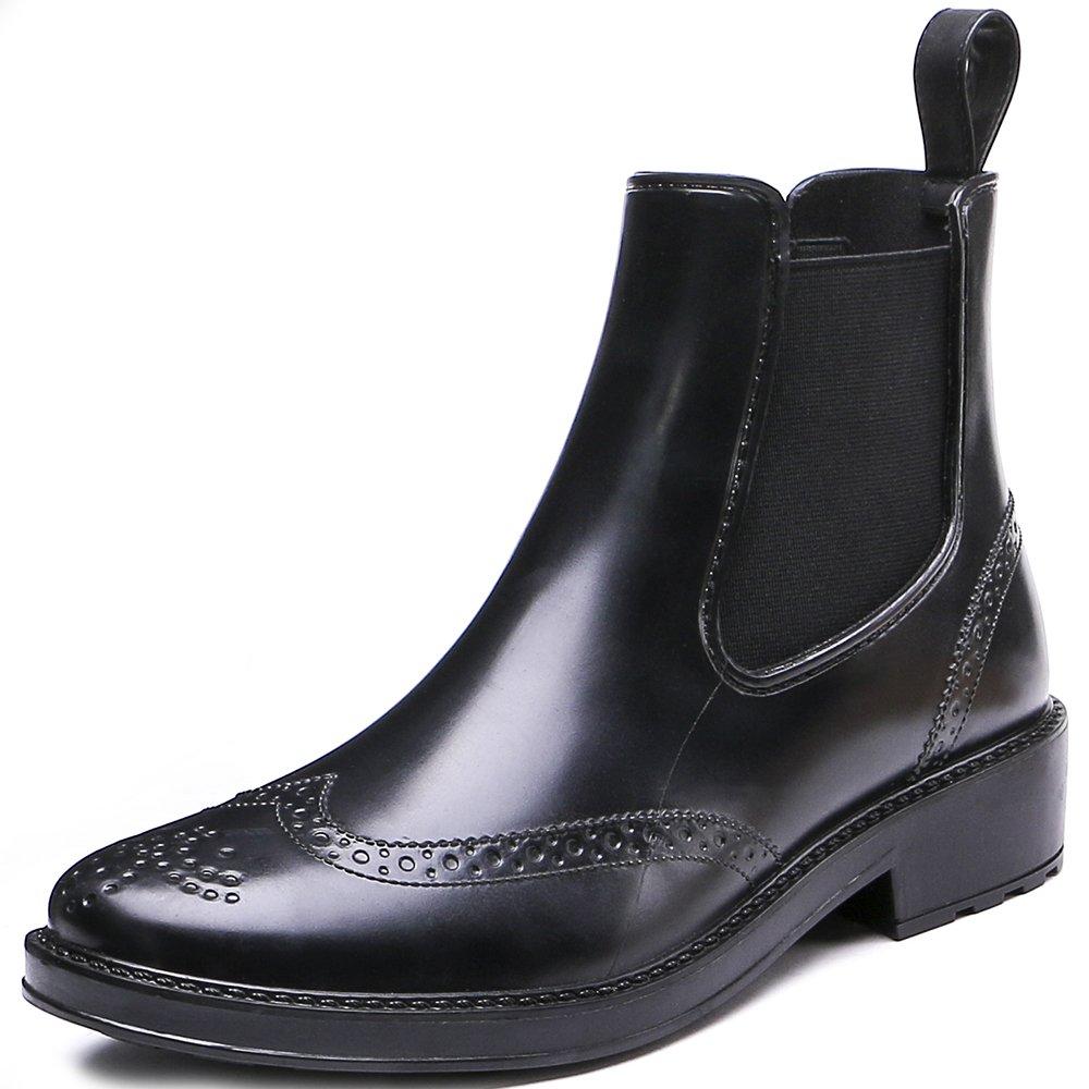 TONGPU Fashion Women's Waterproof Short Ankle Rubber Rain Boots (9, Black)