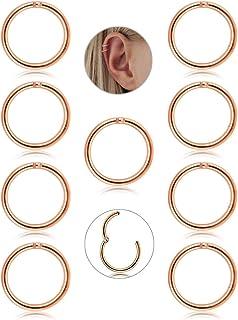 Adramata 9 Pcs 16G Boucle D'oreille Cartilage Boucle D'oreille Petite Anneau Pour Femme Filles Acier Inoxydable Piercing Septum AD1-hk-9rghoop-10s