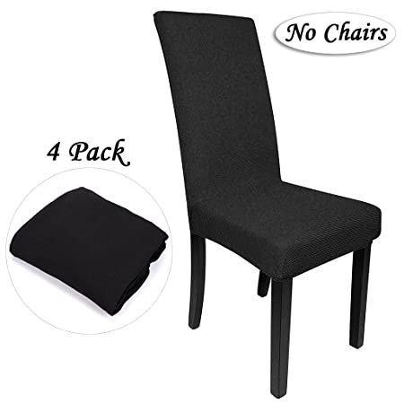 BTSKY 4 Pcs Modern Simplism Style Stretchable Removable Resilient Washable Chair Covers Dining Room Seat