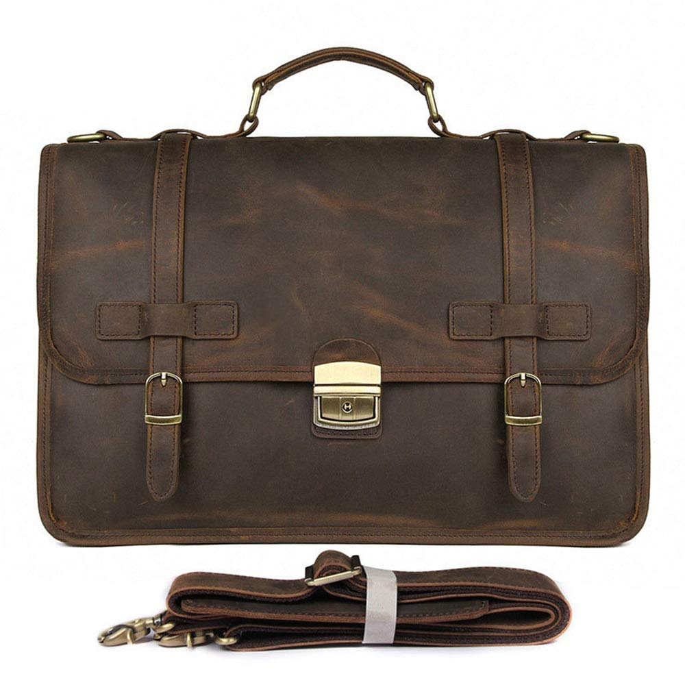 Shengjuanfeng Mens Briefcase Exquisite Briefcase Mens Leather Business Bag Crazy Horse Leather Briefcase Color : Brown, Size : L