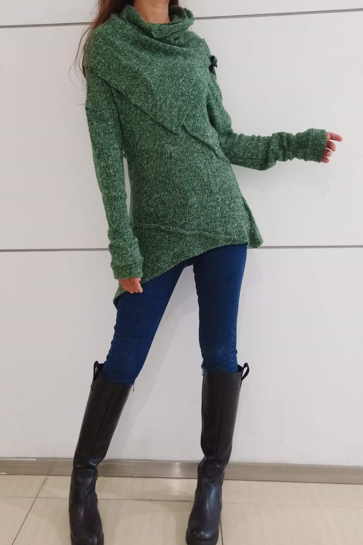 Women's Asymmetrical Knit Sweater Green