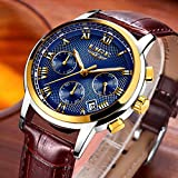 Mens Fashion Business Watch Luxury Chronograph Watch Quartz Watch Casual simulation watchWaterproof Watch Blue Dial