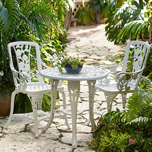 (BrylaneHome 3-Pc Rose Bistro Set (White) - White, One Size)