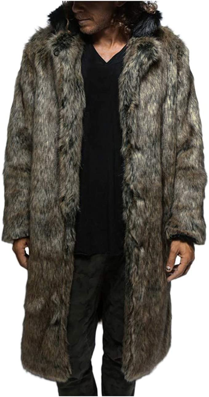 F_Gotal Mens Jackets, Men's Fashion Faux Fur Trench Coat Jacket Parka  Thicker Warm Long Outwear Cardigan at Amazon Men's Clothing store