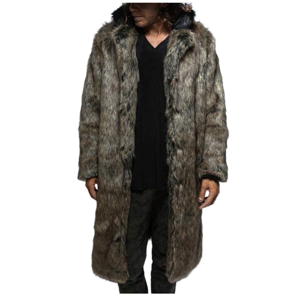 Allywit Luxury Mens Thick Long Coat Jacket Faux Fur Parka Outerwear Cardigan Warm Overcoat Brown by Allywit-Mens