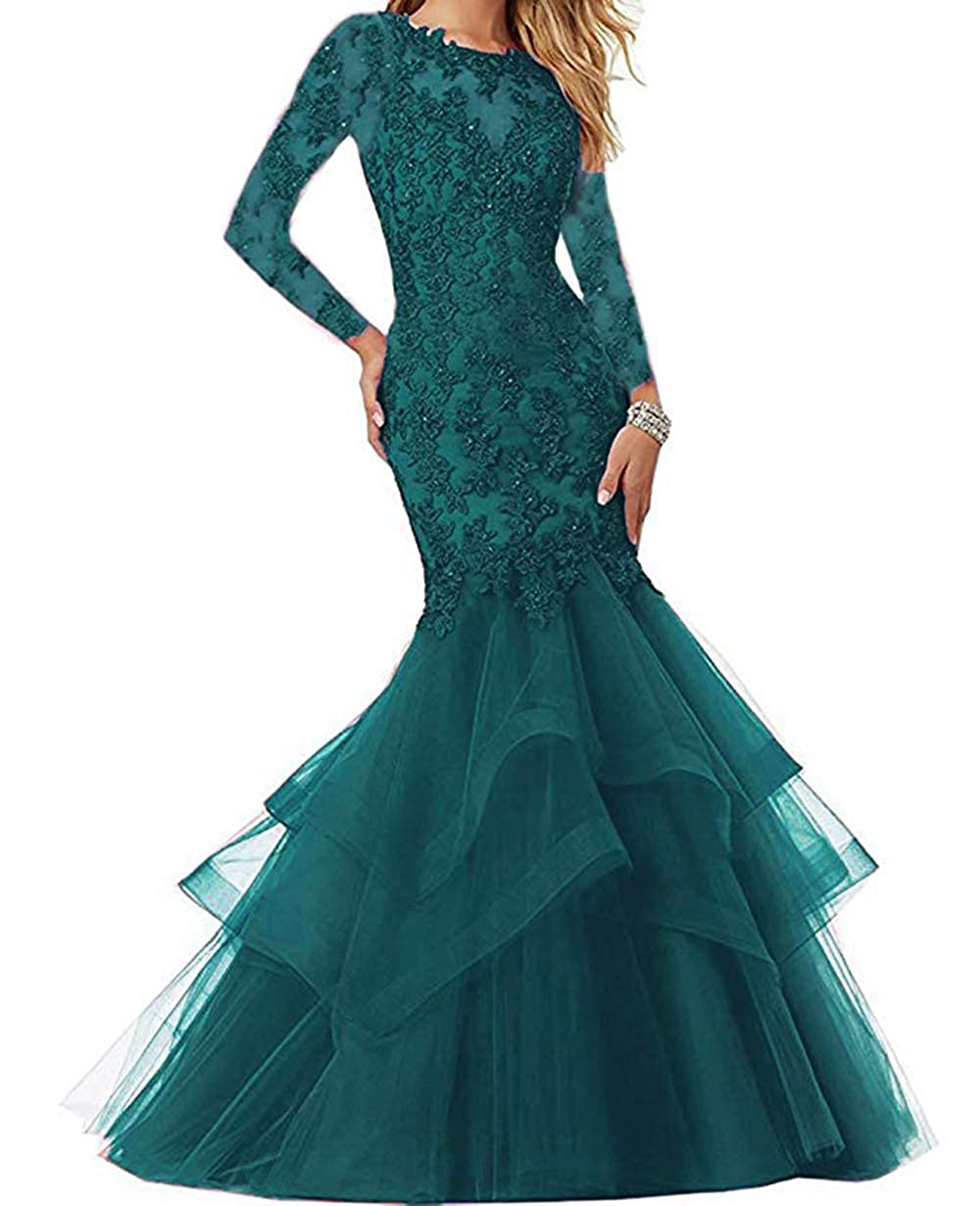 Hunter Green Women's Mermaid Prom Dresses Beaded Lace Appliques Formal Evening Gowns Long Sleeves