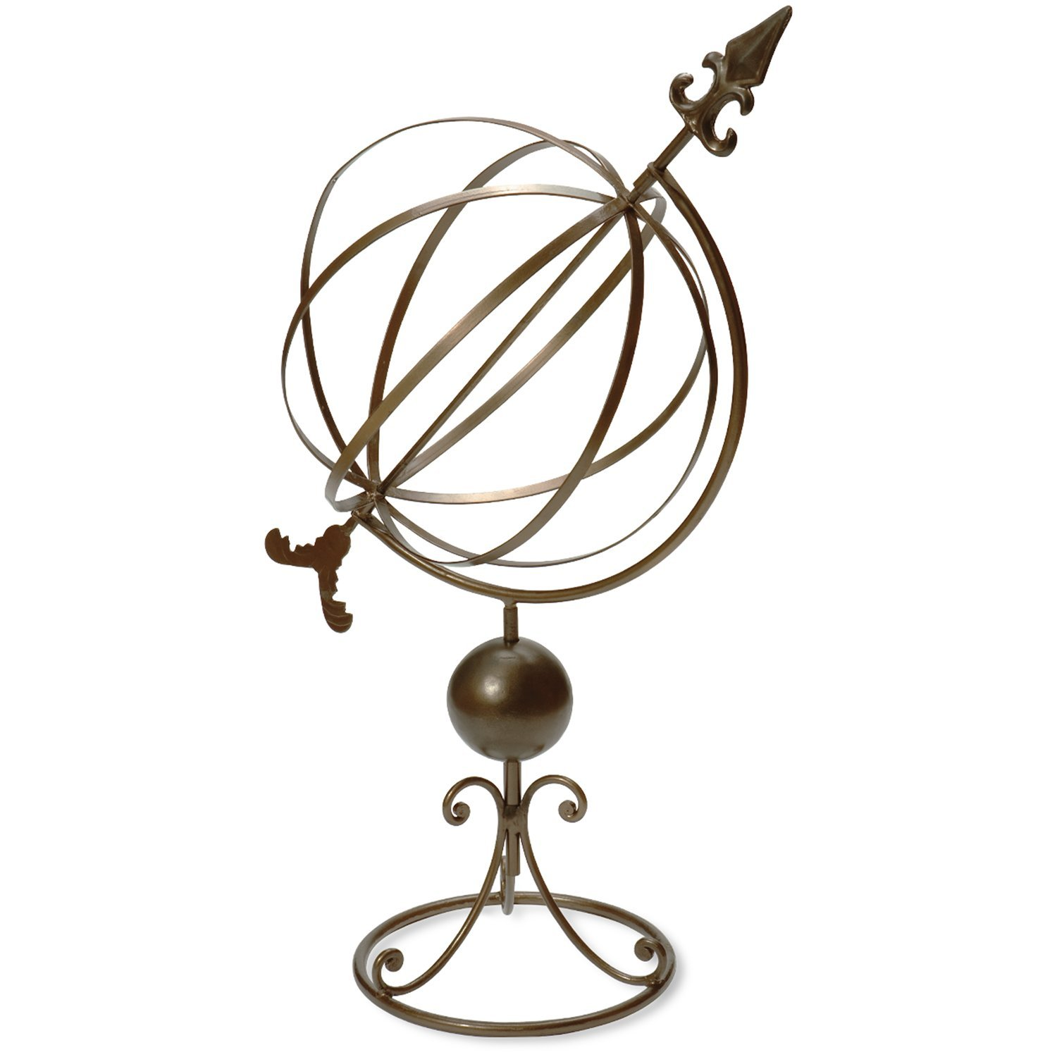 Rome 1320 Wrought Iron Garden Sphere Sundial, Antique Brass Finish, 33 by 14-Inch by Rome