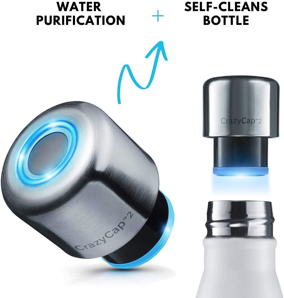 Microlyscs CrazyCap UV Light Water Purifier + Self Cleans Bottle Cap ONLY - Advanced Purification Top Fits Most Standard 9,12, and 17 oz Bottles - Clean and Safe Drinking Water Wherever You Go