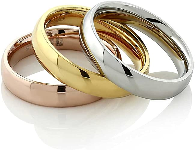 Amazon.com: Gem Stone King Stainless Steel Rose Yellow Gold and Silver 3 Tri -Color Stacking Set of 3 Band Ring (Available 5, 6, 7, 8, 9, 10, 11):  Jewelry