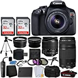 Canon EOS Rebel T6 Digital SLR + Canon EF-S 18-55mm IS II & EF 75-300mm III Lens + 58mm 2x Lens + Wide Angle Lens + Wired Remote + Extra Battery + 64GB Card + Quality Tripod + Tabletop Tripod/Handgrip