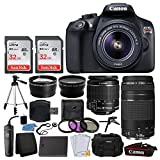 Canon EOS Rebel T6 Digital SLR + Canon EF-S 18-55mm IS II & EF 75-300mm III Lens + 58mm 2x Lens + Wide Angle Lens + Wired Remote + Extra Battery + 64GB Card + Quality Tripod + Tabletop Tripod/Handgrip For Sale