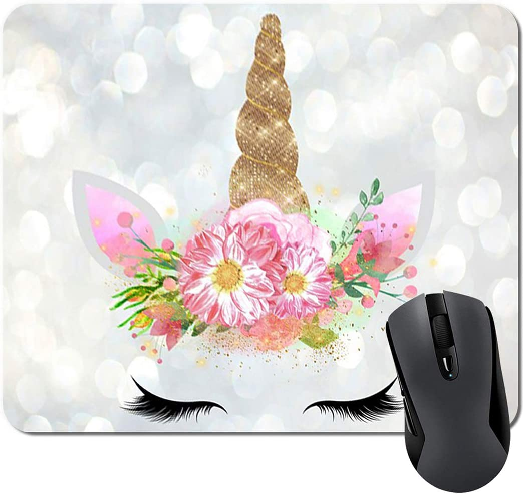 Floral Unicorn Gifts Mouse Pad Mat Cute Unicorn Face Teacher Mousepad Desk Accessories for Women Great Gift Idea