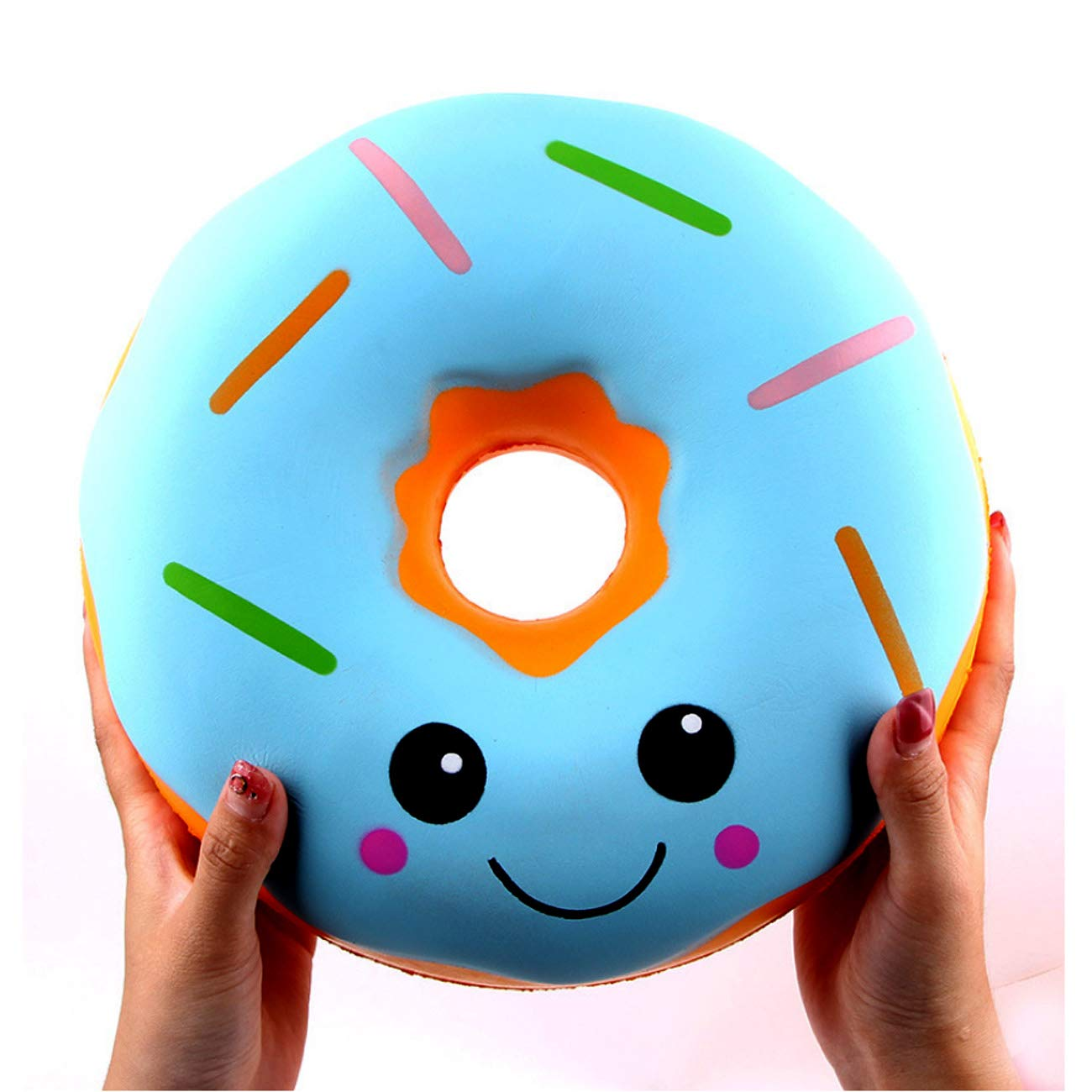 ACCOCO 10'' Inch Large Slow Rising Squishy Toys, Giant Donut Jumbo Slow Rising Scented Super Soft Squeeze Squishy Food Toys Stress Relief Gift Collection (Blue Donut)