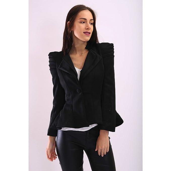95cbf7939c2 FLIRTY WARDROBE Womens Ladies Kate Kim Puff Shoulder Blazer Frill Button Jacket  Tailored Coat  Black