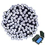 APEXPOWER [Rechargeable battery Included] Battery Operated String Lights 200 LED 72ft with Automatic Timer 8 Mode Christmas String Lights for Xmas Thanksgiving Garden Outdoor Holiday Tree (White)