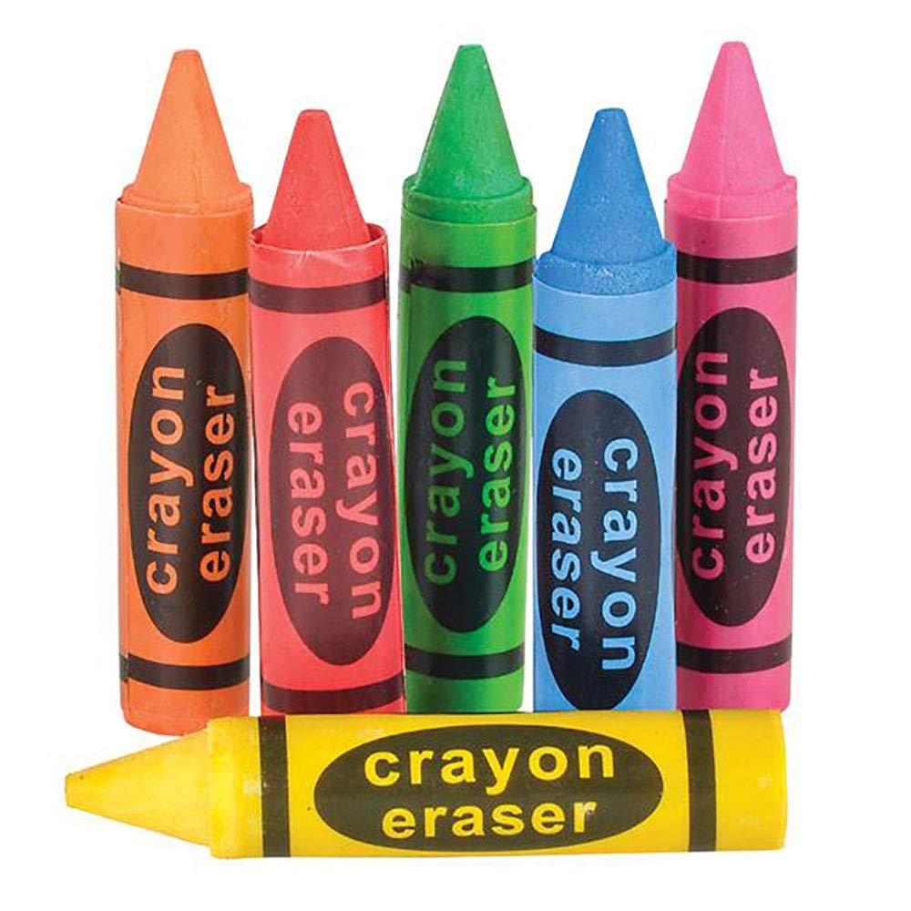 Playroom Decor Educational Tool Party Stuffers Kicko Crayon Shaped Eraser Arts and Crafts Novelty Toys 12 Pack Assorted Colors Perfect for School Supplies and Freebies