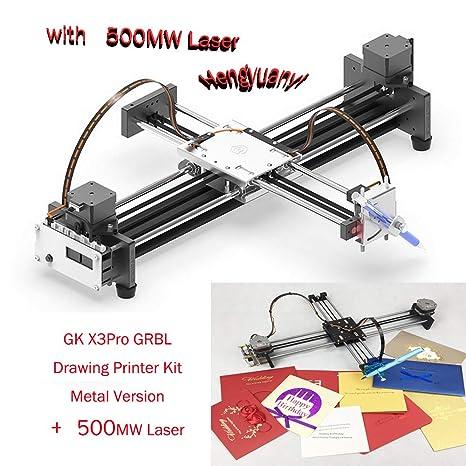 GKDraw X3 DIY Corexy XY GRBL Plotter - Kit de rotulador, máquina de dibujo, robot de escritura, perfecto arte, máquina de escribir CNC, módulo láser, with 2500MW laser head, 1: Amazon.es: Industria,