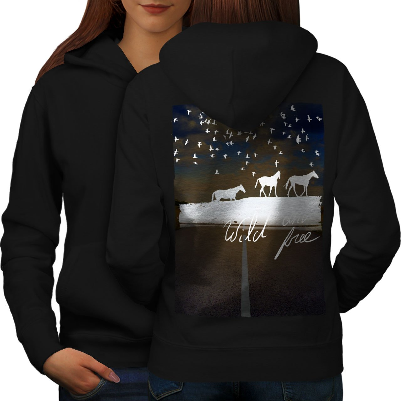 Wellcoda Wild And Free Horse Womens Hoodie, White Design on the Back Side