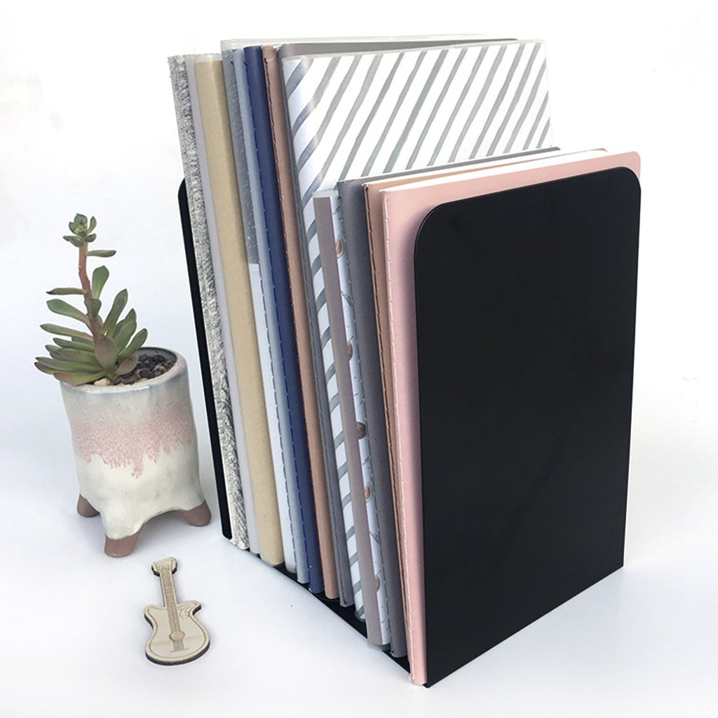 2 Pack Bookends Heavy Duty Books Stand Rack Nonskid Desk Bookshelf Bookcase Metal Book Holder Frame Book Support for Office School Library Magazine Files Binders Movies Dvds Video Games,Standard