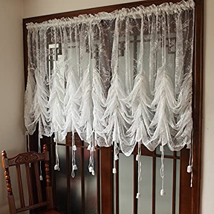 FADFAY Elegant White Lace Embroidered Sheer Ballon Curtains Adjustable Tie Up Curtain Shades