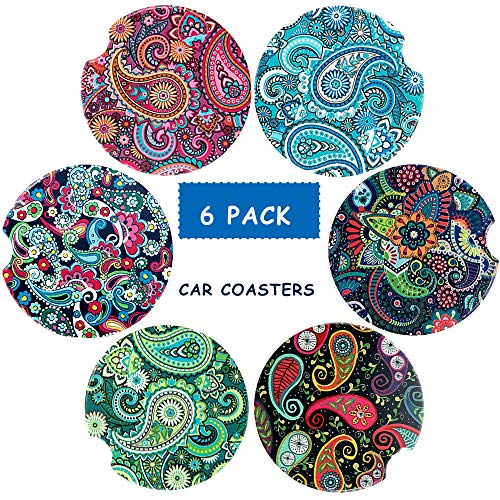 (Car Coasters Pack of 6 -Ceramic Coasters, Mandala Styles Round Coaster Sets with Absorbent Stone-Auto Cup Holder Coasters For Women Men Drinks Car Accessories, Small 2.56