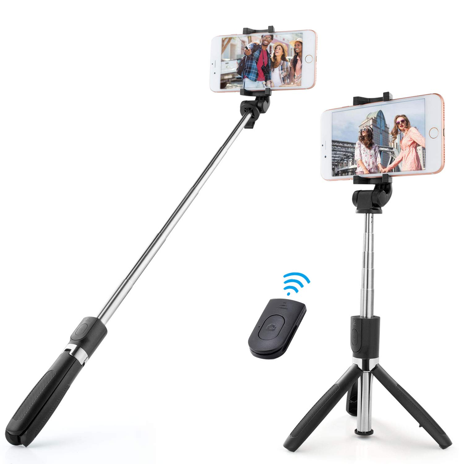 Selfie Stick,RVZHI Extendable Wireless with Bluetooth Remote Tripod Stand Holder for Phone x 8 6 7 Plus Android Samsung Galaxy S7 S8 BlackBerry Huawei/More (Black)