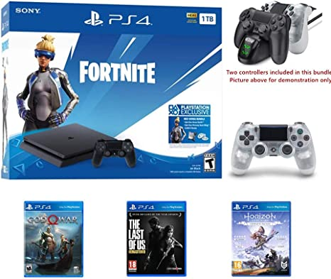 2019 Playstation 4 Holiday Bundle, Solo en Playstation PS4 Consola Slim Bundle – Incluye 3X Juegos, Playstation 4 Fortnite DualShock 4 Wireless Controller w/HESVAP estación de Carga Dock: Amazon.es: Electrónica