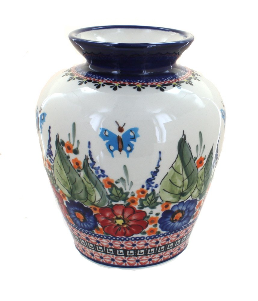 Polish Pottery Floral Butterfly Medium Vase