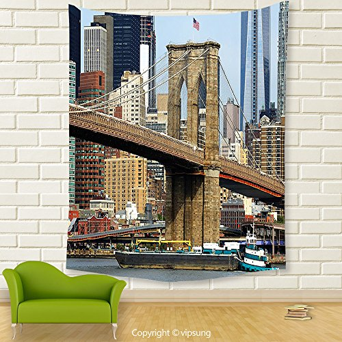 Vipsung House Decor Tapestry_Urban Skyline Of Brooklyn New York Usa Cityscape Bridge Buildings And River Coastal Scenery Multicolor_Wall Hanging For Bedroom Living Room Dorm (Halloween Dog Parade Brooklyn)