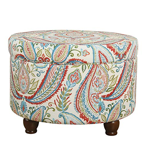 Pattern Upholstered Ottoman - HomePop Upholstered Round Storage Ottoman with LId, Bold Paisley