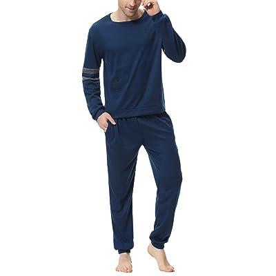Aiboria Men's Pajamas Set Cotton Long Sleeve Top and Pants Soft Sleepwear Lounge Set: Clothing