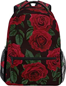 ALAZA Red Rose Flower Floral Large Backpack Personalized Laptop iPad Tablet Travel School Bag with Multiple Pockets