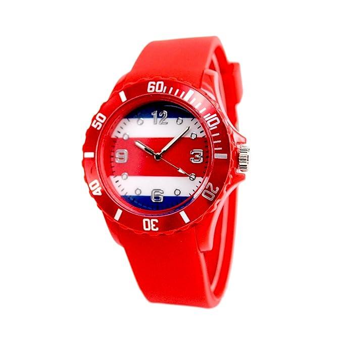 Reloj con la bandera de Costa Rica con pulsera de Silicona