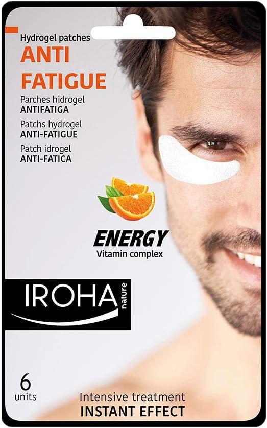 Iroha Nature - Parches Hidrogel para Ojos, Antifatiga con Vitamina C, para Hombres, 6 unidades | Parches Hydrogel Antifatiga Hombre Vitamin Complex