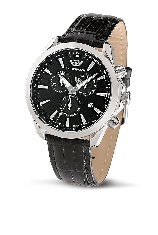 PhilipメンズBlazeクロノグラフ腕時計r8271995225 withクオーツMovement , Black Dial andステンレススチールCase B005PLAYDC