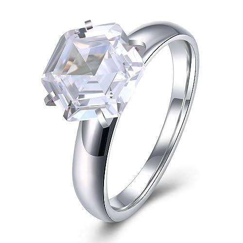 Riconex Anillo de titanio chapado en oro con circonita 5A para mujer, anillo de compromiso