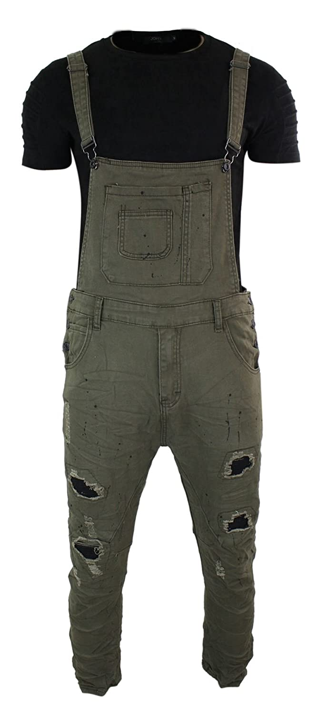 Urbanrags Salopette Jeans da Uomo Denim Strappato Vintage Slim Fit Urban Rags