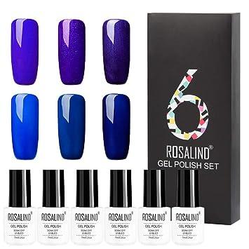 Amazon.com: Juego de 6 esmaltes de uñas de gel ROSALIND con ...