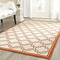 Safavieh Amherst Collection AMT412F Ivory and Orange Indoor/ Outdoor Square Area Rug (7' Square)