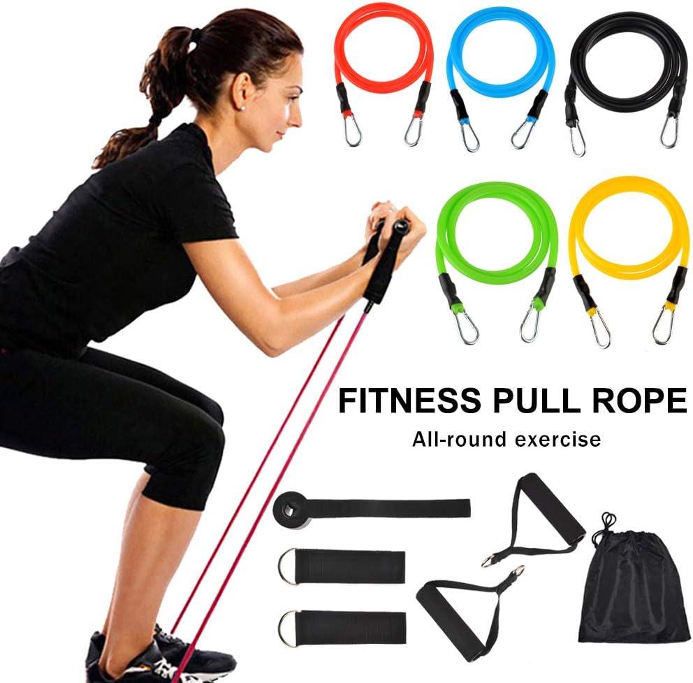 Funique Ensemble Bande /Élastique R/ésistance Bande Fitness Set Sport Kit Tension Bandes dexercise pour Musculation Pilates Yoga Gym Entra/înement