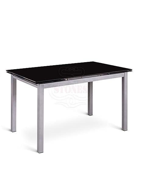 Top Tavoli Da Cucina.Tavolo Da Pranzo Allungabile Con Top In Vetro Nero 110 1700x75x75cm Stones Baud Om 079 N