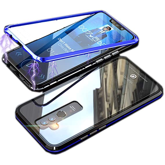 finest selection 6ad38 e25eb Magnetic Adsorption Flip Case for Huawei Mate 20 Lite [Strong Magnetic  Adsorption] [2 Color Collision] [Clear Tempered Glass Back] Metal Bumper  Frame ...
